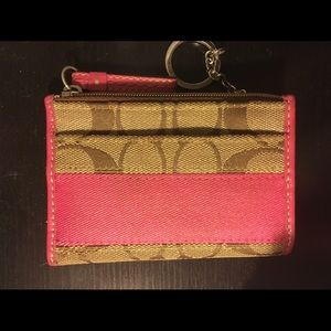 Pink and tan Coach ID holder/ small wallet